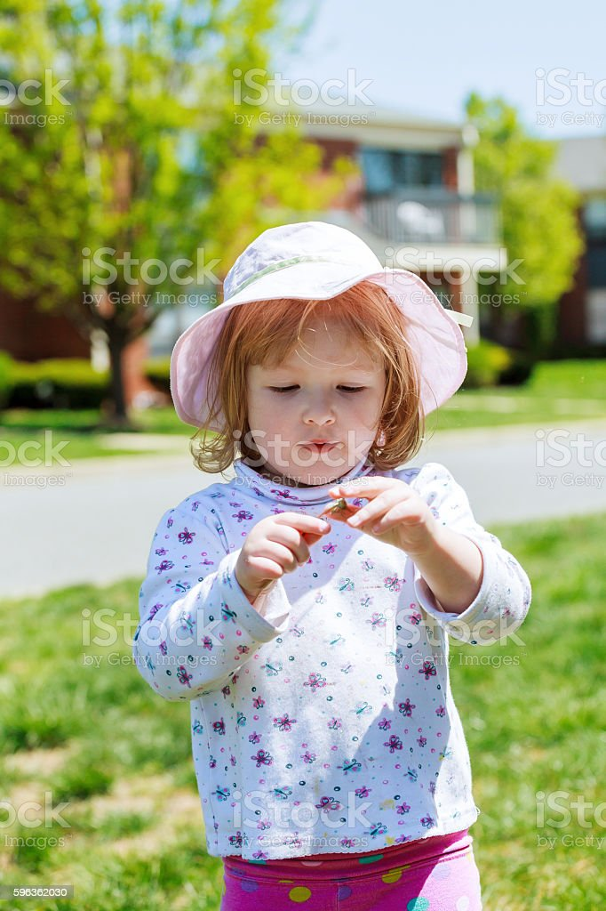 Beautiful little girl blowing dandelion on green meadow royalty-free stock photo