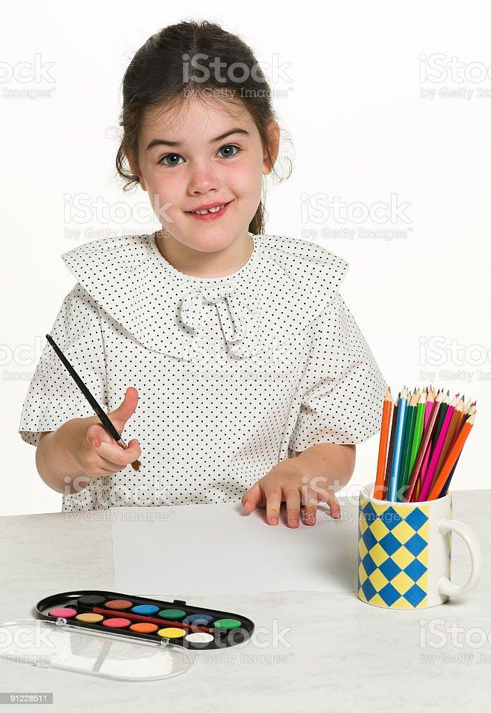 Beautiful little girl playing stock photo