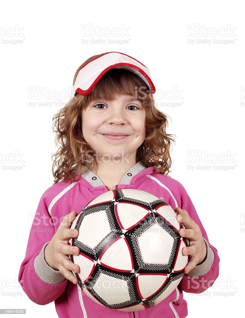 beautiful little girl with ball royalty-free stock photo