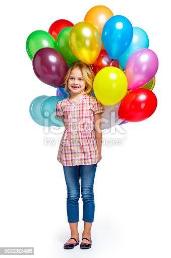 istock Beautiful little girl with balloons 502282486
