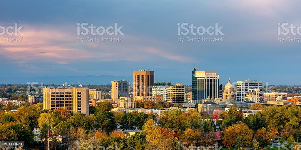 Beautiful little town of Boise Skyline in fall stock photo