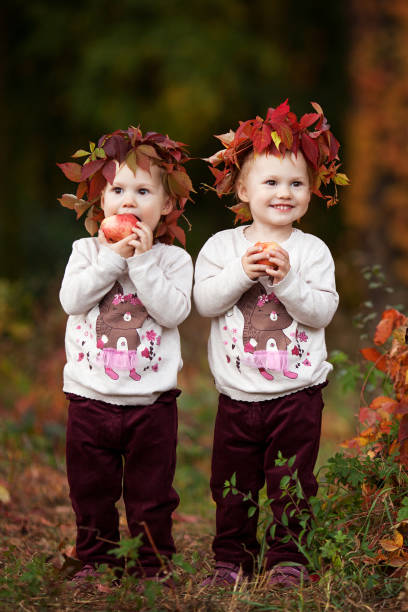 Beautiful little twin girls holding apples in the autumn garden at picture id1056296512?b=1&k=6&m=1056296512&s=612x612&w=0&h=r4lmv3 dhnkb8ksb5gdhusp9svsqs6np3eln5eufjiq=