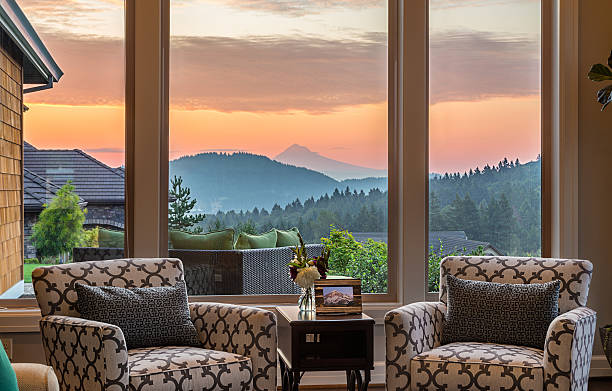 Beautiful Living Room Detail with Sunrise View stock photo