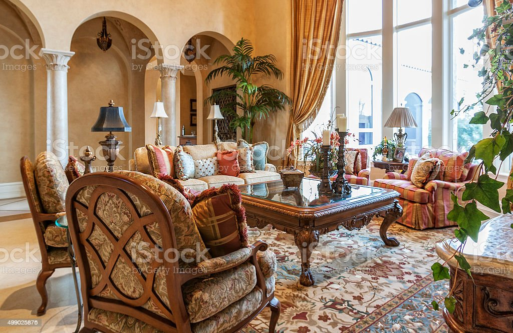 Beautiful Living Room in Estate Home stock photo
