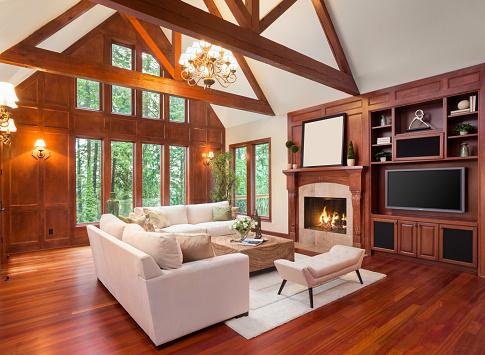 Schönes Wohnzimmer Interieur In Der Neuen Luxushome Stockfoto und mehr Bilder von Ausrüstung und Geräte