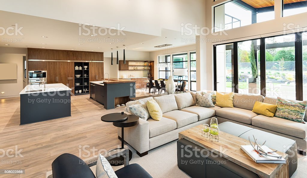 Beautiful living room interior in new luxury home stock for House beautiful living rooms photos
