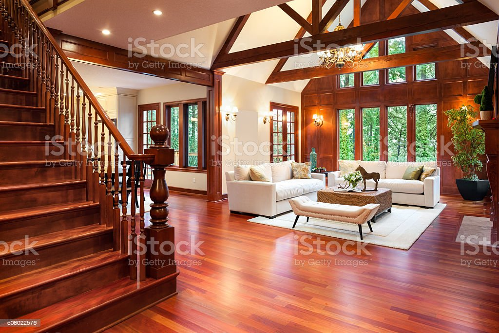 Beautiful living room interior in new luxury home stock photo