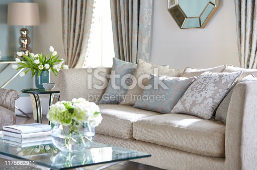 Colorful pillows on the couch in a traditional style living room