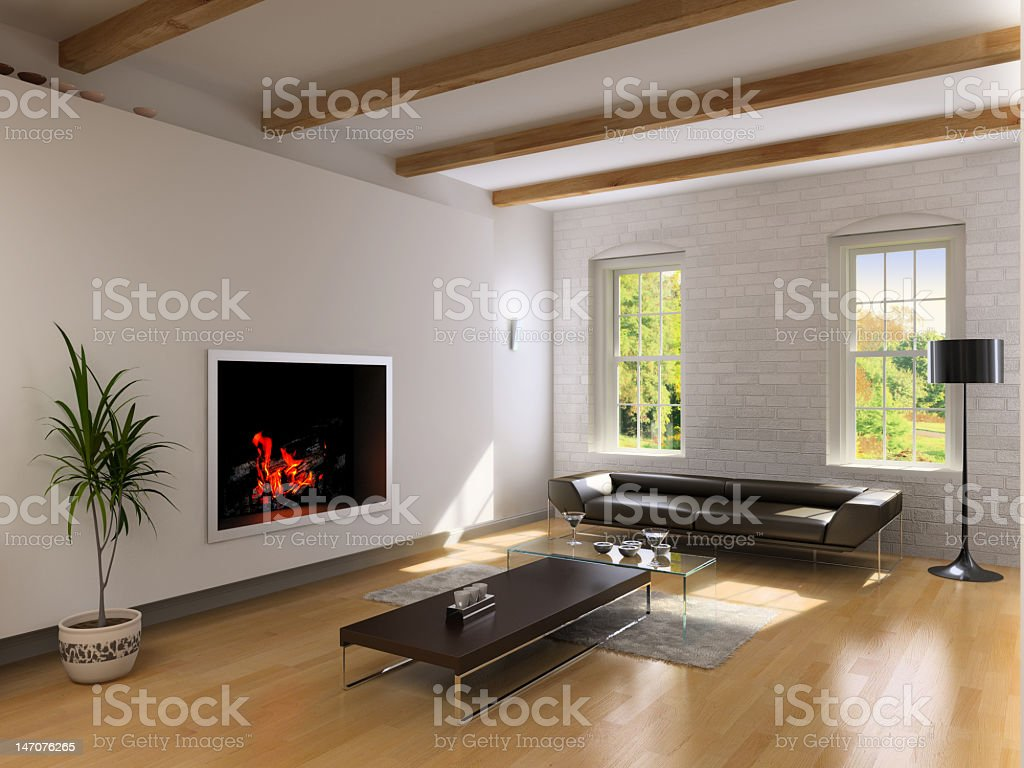 Beautiful living room interior with hard wood flooring royalty-free stock photo