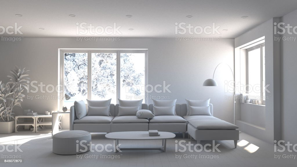 Beautiful Living Room Interior With Sofa Set 3d Illustration White Room With Sofa Stock Photo Download Image Now Istock