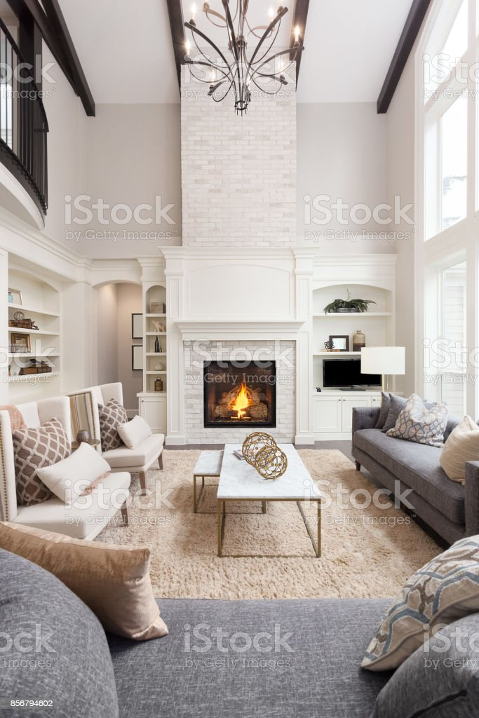 Beautiful Living Room Interior With Tall Vaulted Ceiling