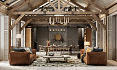 istock Beautiful living room interiors of a winter cottage in 3d 1270113382