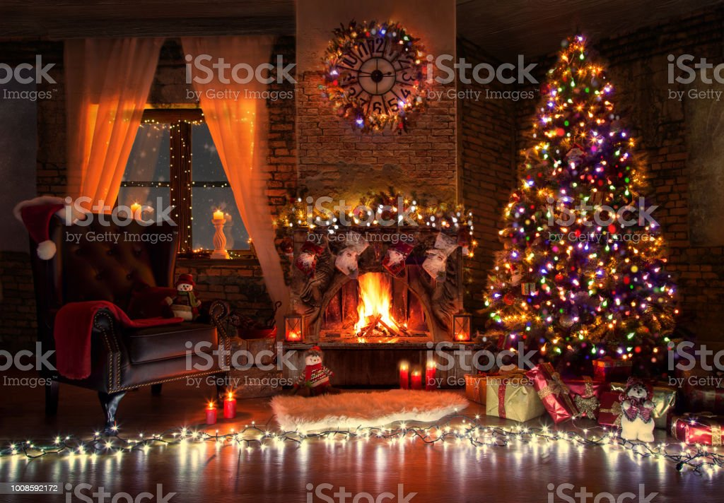 Beautiful Living Room With Fire Place Decorated For Christmas Stock