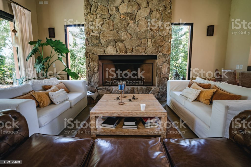 Beautiful Living Room With Fireplace Stock Photo Download Image Now Istock