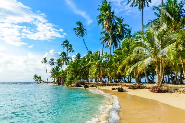 Beautiful lonely beach in caribbean San Blas island, Kuna Yala, Panama. Turquoise tropical Sea, paradise travel destination