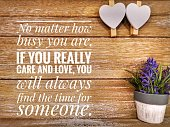 A beautiful love message with wooden background.