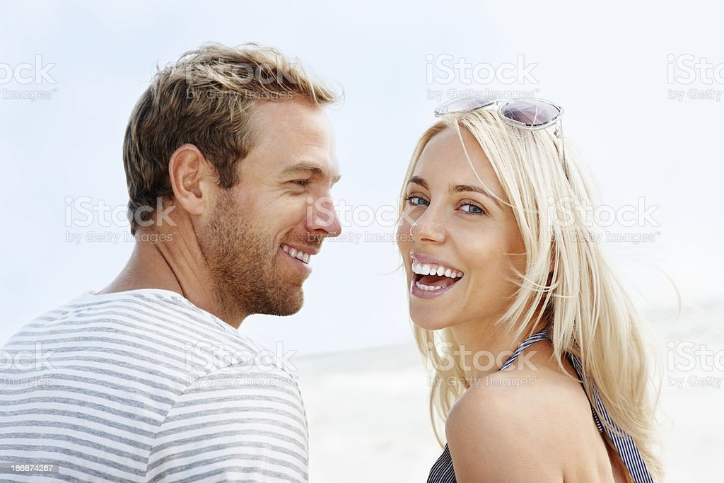 Beautiful loving couple having fun on a sunny day royalty-free stock photo