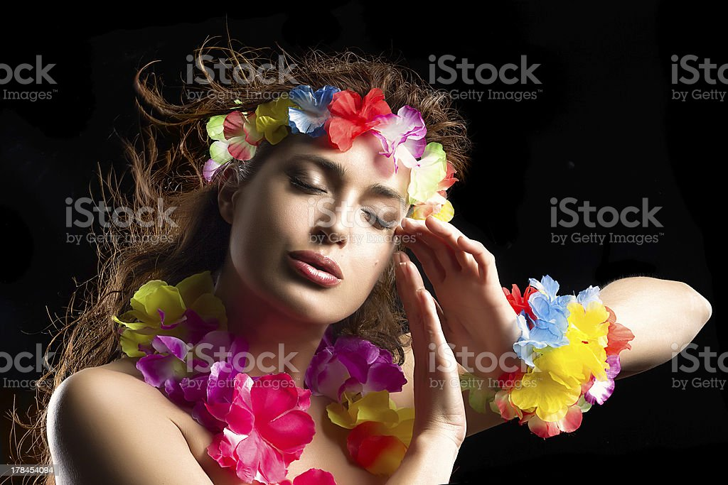 Beautiful Luau Party Girl. Hula Dance royalty-free stock photo