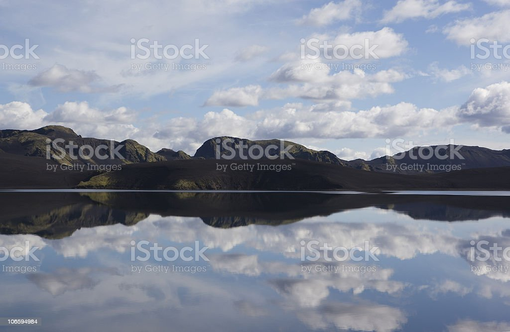 Beautiful lunar landscapes. Montain, Reflection, Lake in Iceland stock photo