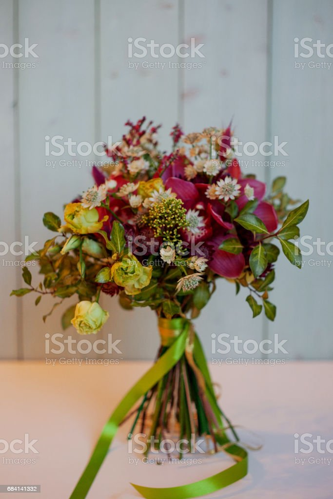 beautiful lush bouquet with roses, turquoise background, gift zbiór zdjęć royalty-free