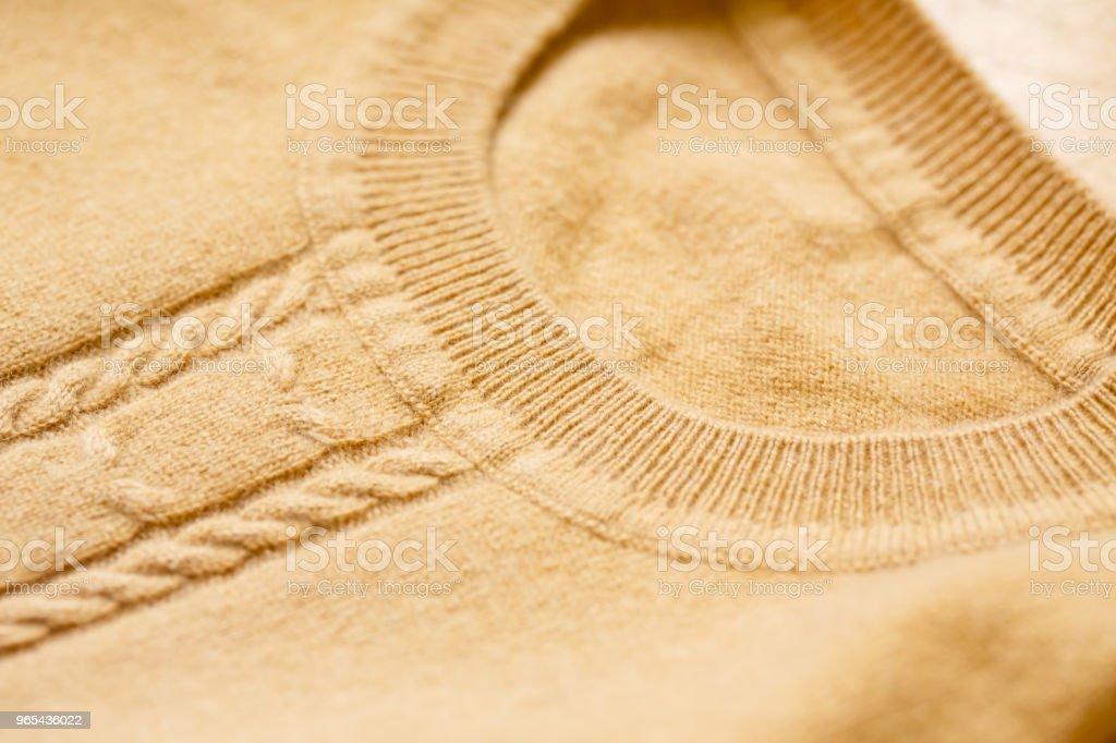 Bonito, luxuoso, malha sweater em bege, outono, inverno, morno. - Foto de stock de Aconchegante royalty-free