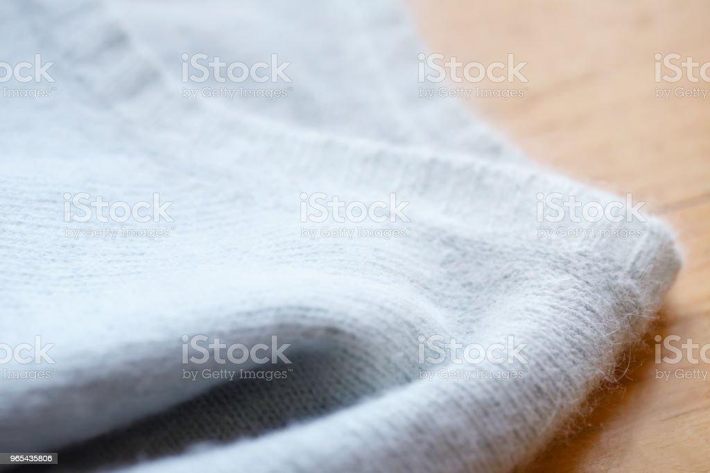 Beautiful, luxurious, knitted sweater in light blue, autumn, winter, warm. zbiór zdjęć royalty-free