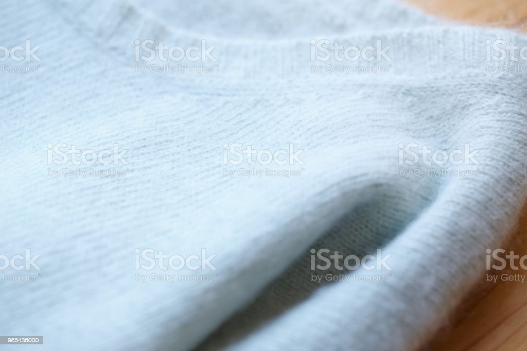 Beautiful, luxurious, knitted sweater in light blue, autumn, winter, warm. zbiór zdjęć royalty-free