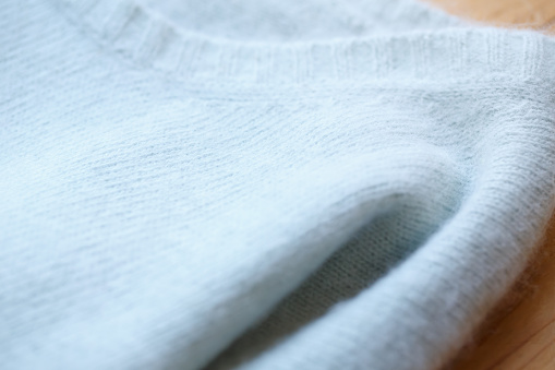 Beautiful Luxurious Knitted Sweater In Light Blue Autumn Winter Warm Stock Photo - Download Image Now
