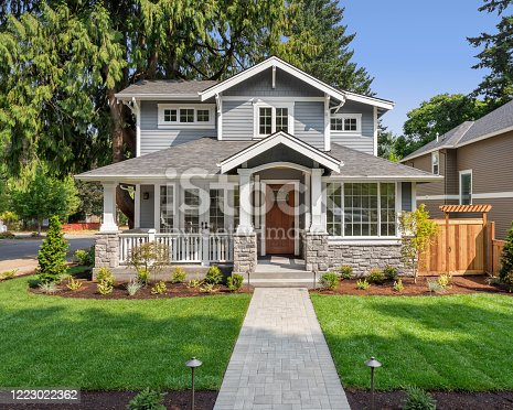 istock Beautiful luxury home exterior on bright sunny day with green grass and blue sky. Features walkway, covered porch, and stately gables and columns. 1223022362