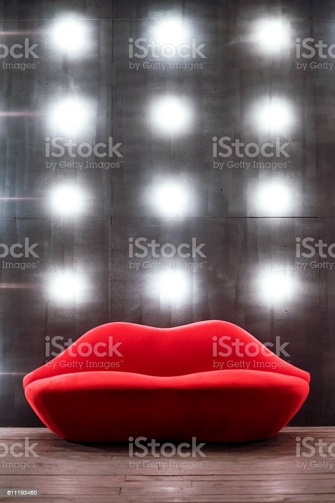 Beautiful Luxury Red Lips Sofa On Grey Background With Lights Royalty Free  Stock Photo