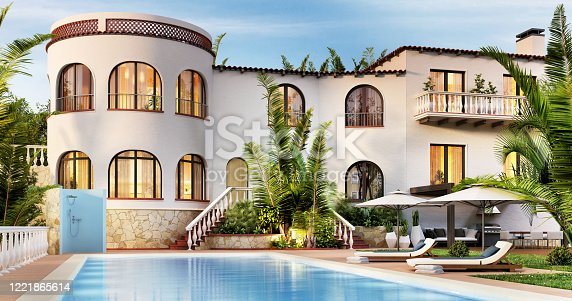 Beautiful luxury villa with pool by the sea. Exterior of a large white house.