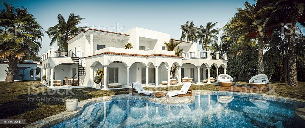 Beautiful Luxury Villa With Swimming Pool stock photo
