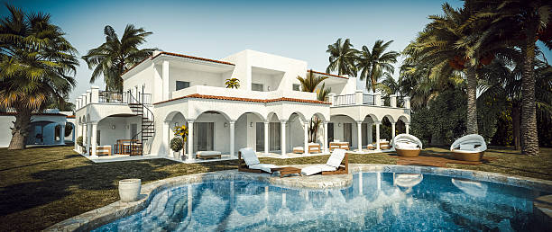 beautiful luxury villa with swimming pool - villa stock photos and pictures