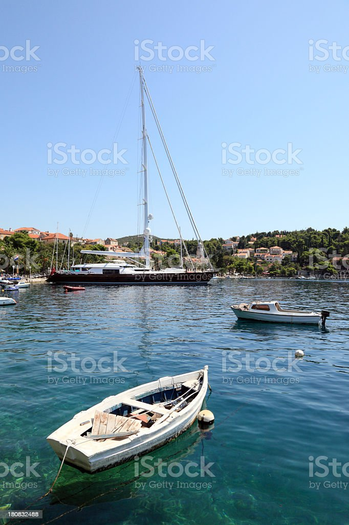 Beautiful luxury yacht moored in the port of Cavtat royalty-free stock photo