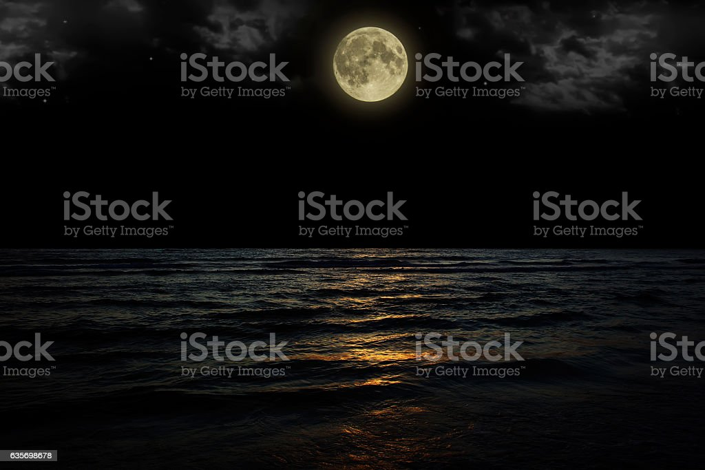 Beautiful magic blue night sky with clouds and full moon royalty-free stock photo