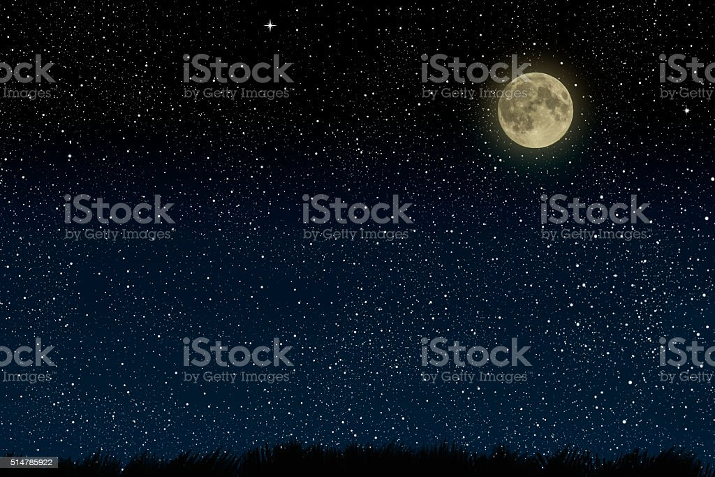 Beautiful magic blue night sky with clouds stock photo