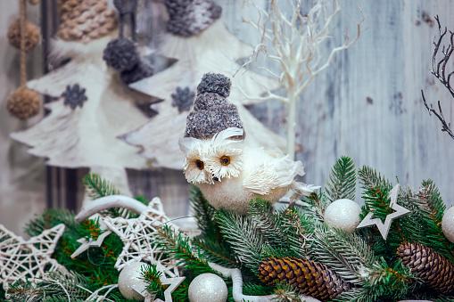 "Christmas House Owl  Christmas Ornament 6"" New"