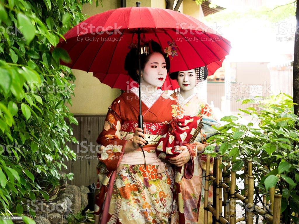 Beautiful Maiko Ladies  in Kyoto stock photo
