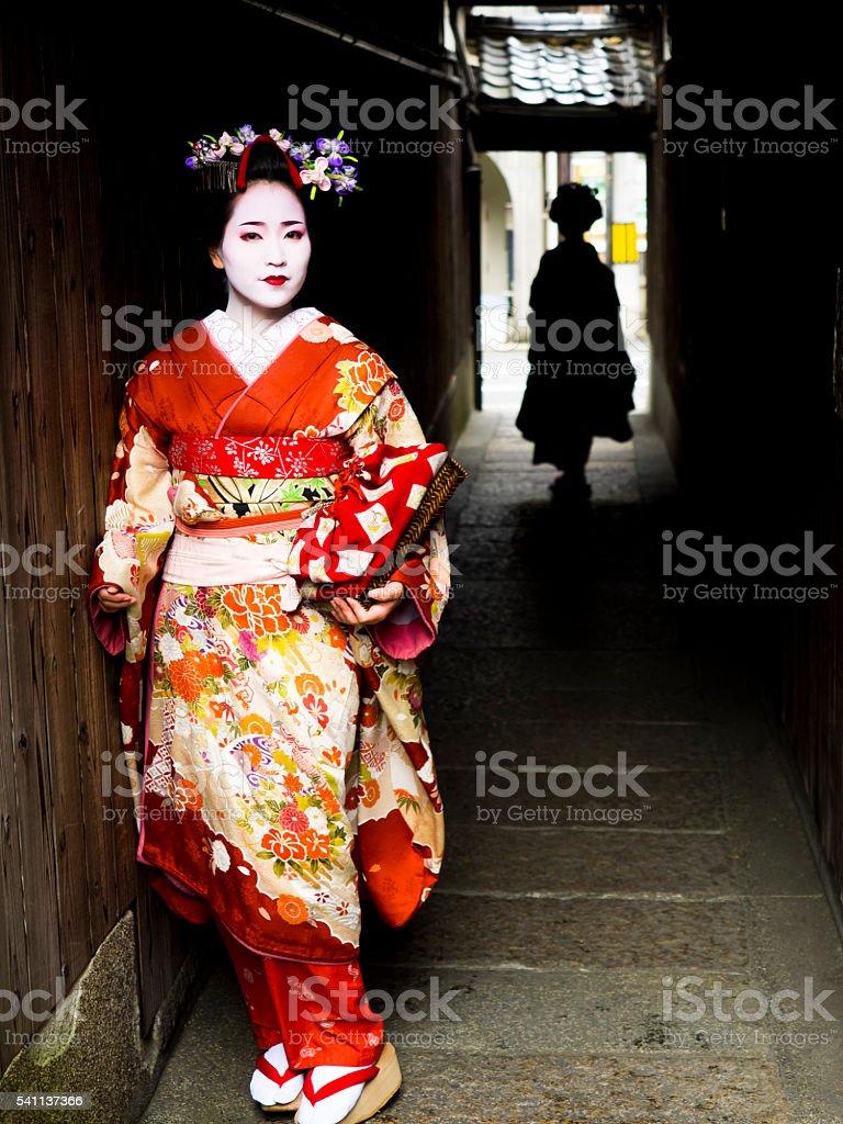 Beautiful Maiko ladies in Kyoto. stock photo