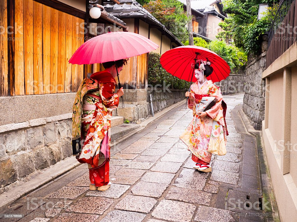 beautiful Maiko ladies in Kyoto. stock photo