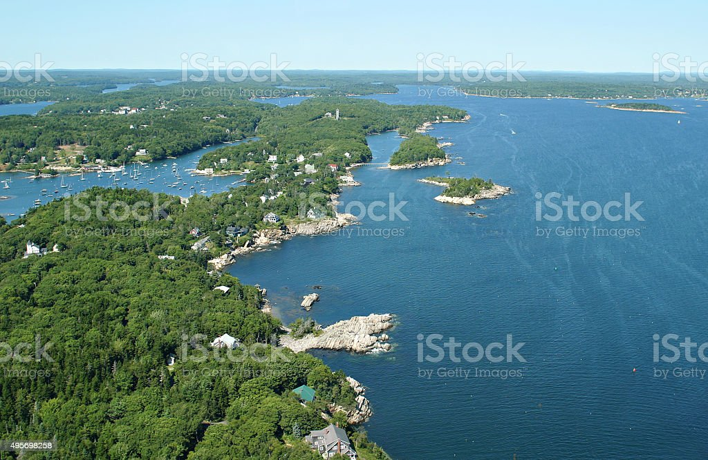 Beautiful Maine coastline from mid air stock photo
