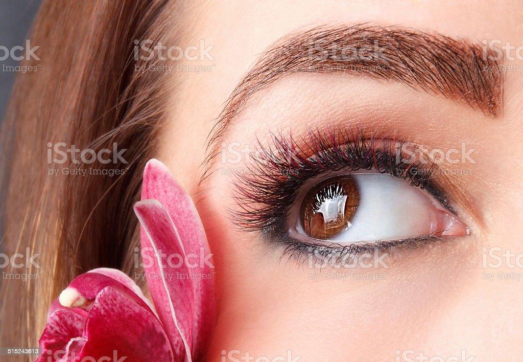 Beautiful make-up with fake eyelashes stock photo
