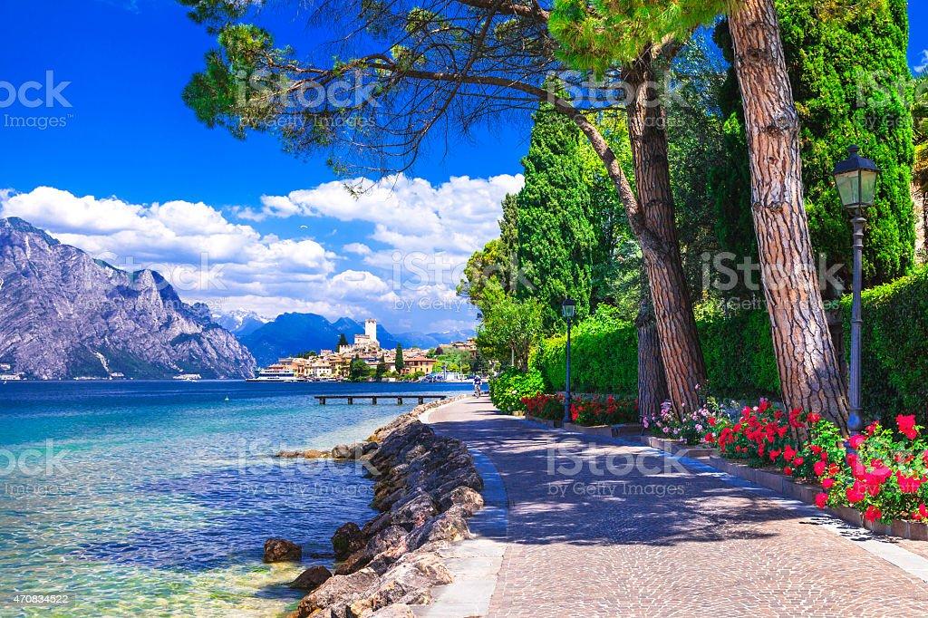 Beautiful Malcesine,Lake of Garda,Italy stock photo