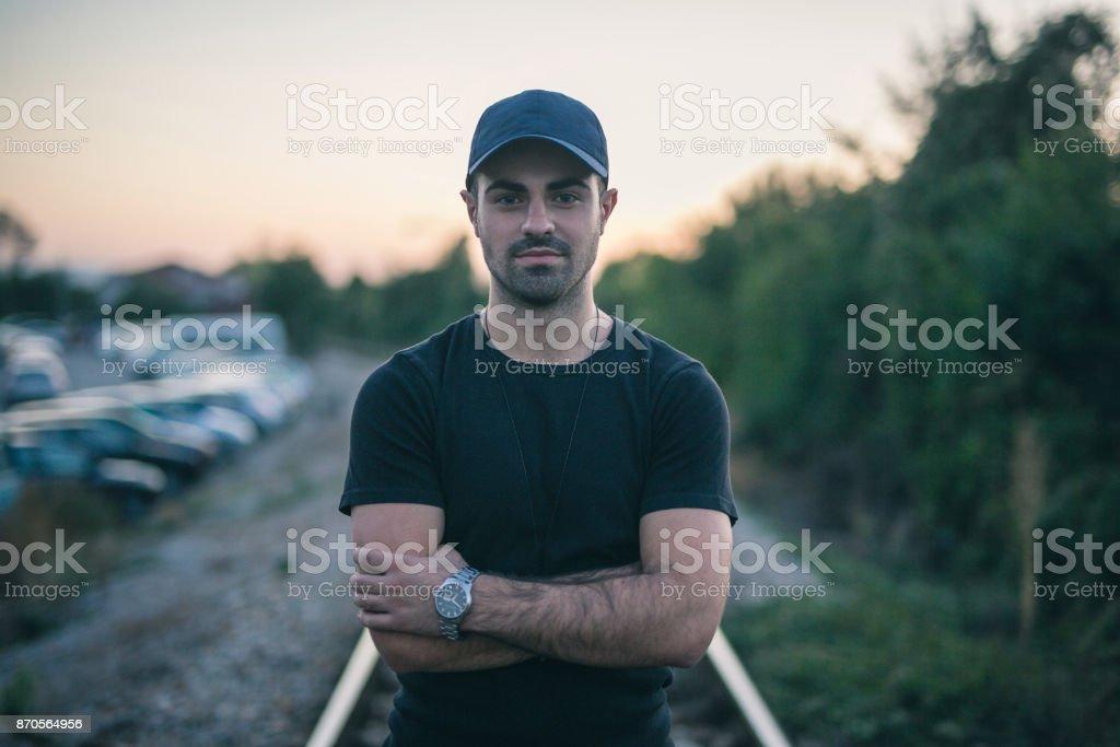 Beautiful man outdoors stock photo