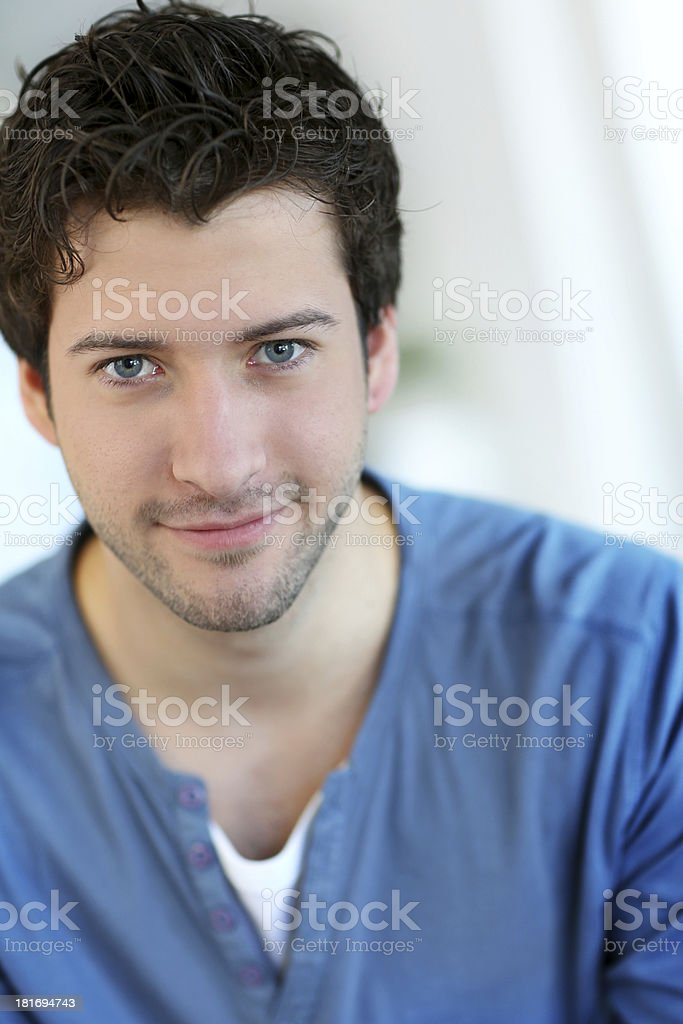 Beautiful Man With Brown Hair And Blue Eyes Stock Photo More
