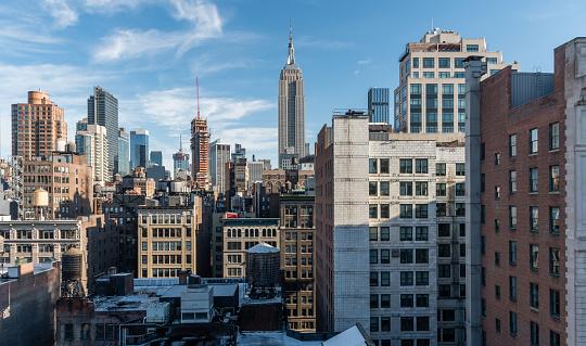 Beautiful Manhattan skyline vista in winter
