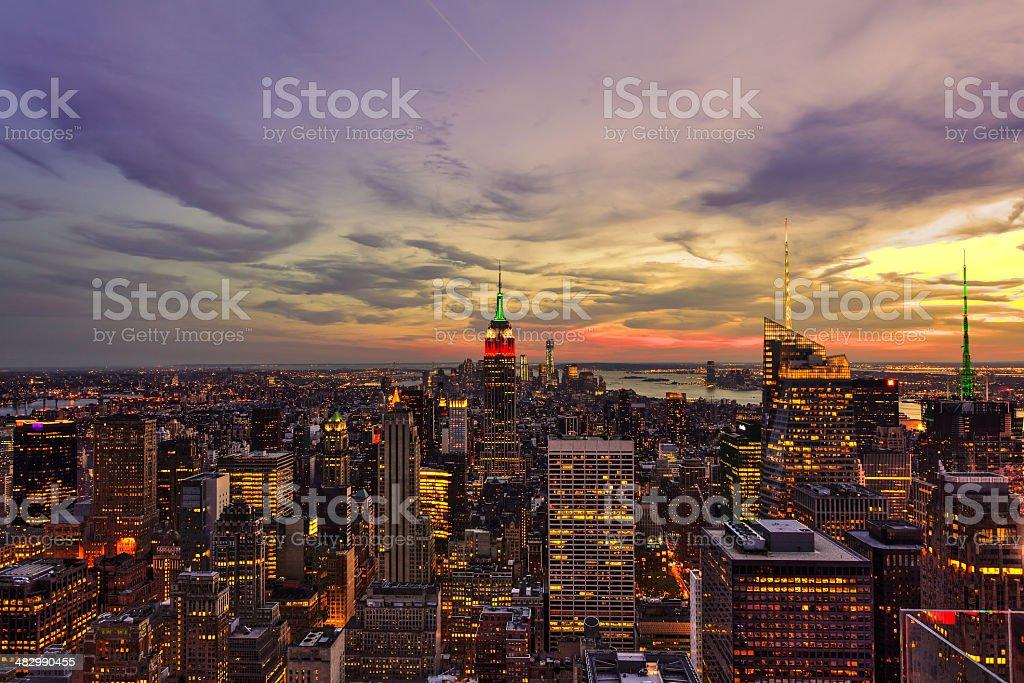 Beautiful Manhattan View at Dusk, New York City stock photo