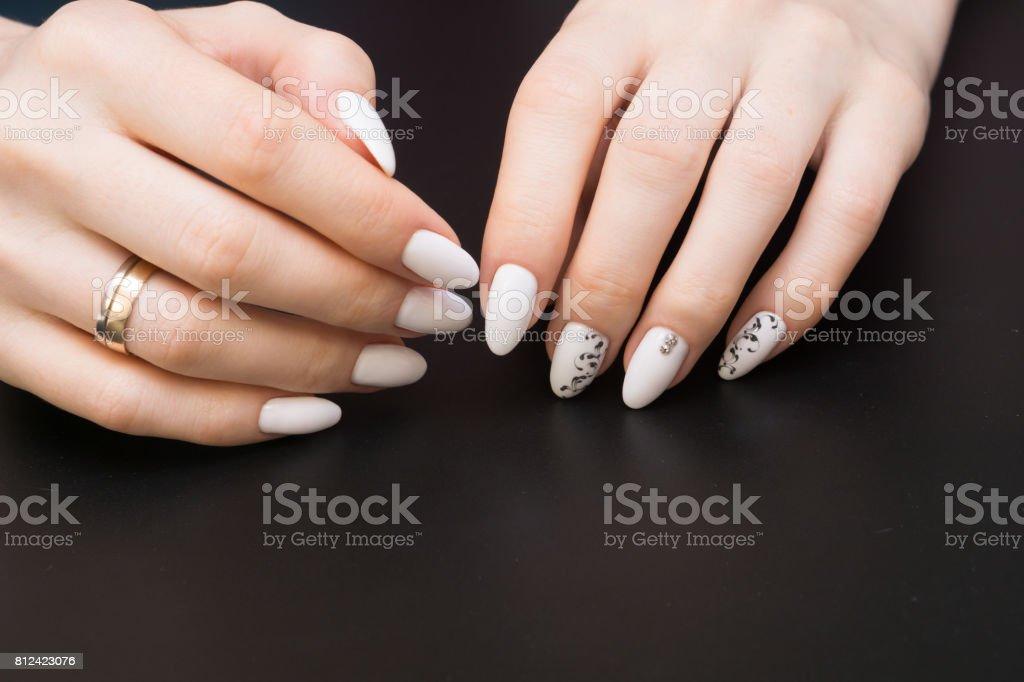 Beautiful Manicure And Nail Art Natural Nails And Gel Polish Stock