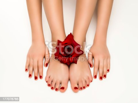 1147741037istockphoto Beautiful manicure and pedicure with a rose 177078785