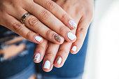 Beautiful manicure of gel varnish